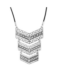 Lucky Brand - Metallic Silvertone Triple Plaque Necklace - Lyst