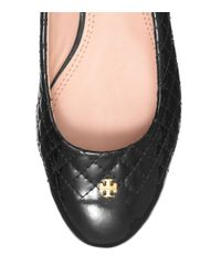 Tory Burch - Black Leather Flat Pumps with Tassels - Lyst