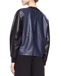 Vince - Blue Leather/knit Colorblock Pullover - Lyst