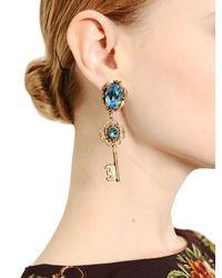 Dolce & Gabbana - Blue Key Pendant Earrings - Lyst