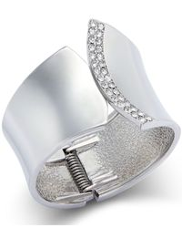 INC International Concepts - Metallic Silver-tone Pavé Curved Cuff Bracelet - Lyst