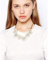 Kenneth Jay Lane - Metallic Floral Statement Necklace - Lyst