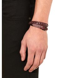 Valentino - Purple Leather Wraparound Bracelet for Men - Lyst