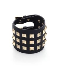 Valentino | Black Rockstud Leather Cuff Bracelet | Lyst