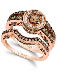 Le Vian - Pink Chocolate And White Diamond Engagement Band Set In 14k Rose Gold (1-1/2 Ct. T.w.) - Lyst