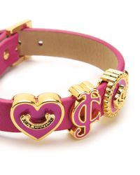 Juicy Couture | Pink Jc Iconic Slider Leather Wrap Bracelet | Lyst