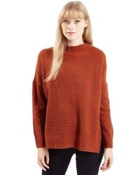 TOPSHOP | Brown Funnel Neck Side Slit Sweater | Lyst