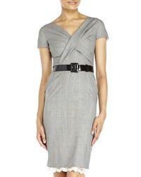 Dior - Gray Belted Plaid Sheath Dress - Lyst