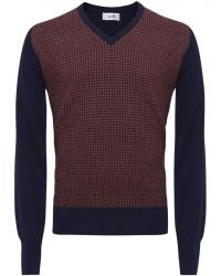 Jules B - Blue Houndstooth V-Neck Sweater for Men - Lyst