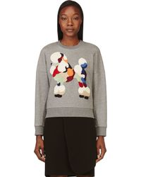 3.1 Phillip Lim - Gray Grey Embroidered Poodle Sweatshirt - Lyst