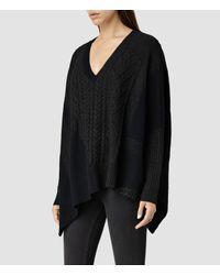 AllSaints - Blue Link Draped Sweater - Lyst