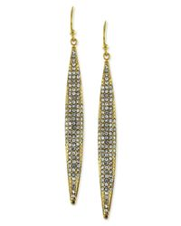 Vince Camuto | Metallic Gold-tone Crystal Pave Linear Earrings | Lyst