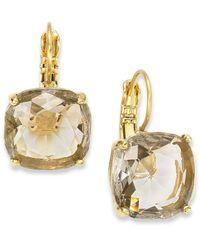 kate spade new york - Metallic 12K Gold-Plated Black Diamond Crystal Square Leverback Earrings - Lyst