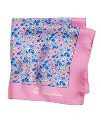 Brooks Brothers - Pink Flower Print Pocket Square - Lyst