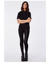 Missguided - Multicolor Carman Leopard Flocked Leggings Black - Lyst