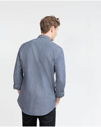 Zara | Blue Striped Shirt for Men | Lyst