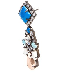Shourouk | Blue Spootnik Crystal and Enamel Beaded Earrings | Lyst