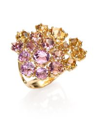 Ippolita   Metallic Rock Candy Lollipop Constellation 18-Karat Gold, Topaz And Diamond Ring   Lyst