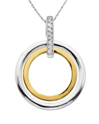 Lord & Taylor | Metallic Sterling Silver And 14k Yellow Gold Diamond Pendant Necklace | Lyst