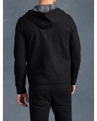 John Varvatos - Black Wool Stripe Knit Hoodie for Men - Lyst