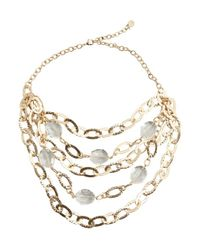 R.j. Graziano - Metallic Gold Hammered Link And Crystal Layered Necklace - Lyst