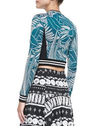 Veronica Beard | Blue Mixed-print Zipper Crop Top | Lyst