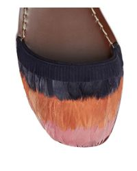 Tory Burch - Multicolor Flat Slingback Sandal With Feathers - Lyst