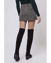 TOPSHOP | Gray Petite Herringbone Jersey A-line Skirt | Lyst