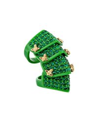 Vivienne Westwood | Green Resin Pave Armour Ring | Lyst