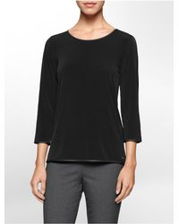 Calvin Klein | Black White Label Faux Leather Piped 3/4 Sleeve Top | Lyst