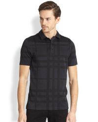Burberry | Black Auden Check Polo Shirt for Men | Lyst