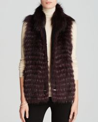 Maximilian | Purple Feathered Fox Fur Vest With Drawstring Waist | Lyst