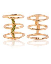 Vara Of London - Metallic The Bamboo Leaves Ring - Lyst