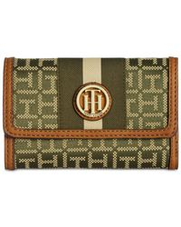 Tommy Hilfiger - Blue Lucky Charm Monogram Jacquard Medium Flap Wallet - Lyst
