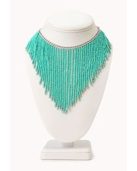 Forever 21 Blue Worldly Beaded Fringe Necklace