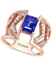 Effy Collection | Blue Tanzanite Royalé By Effy Tanzanite (1-1/3 Ct. T.w.) And Diamond (3/8 Ct. T.w.) Ring In 14k Rose Gold | Lyst