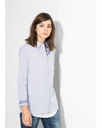 Mango - Blue Striped Shirt - Lyst