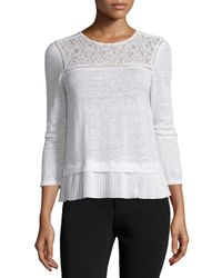 Rebecca Taylor - White Lace-trim Linen Top - Lyst