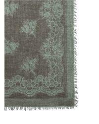 Franco Ferrari - Natural Floral Lace Print Wool-cashmere Scarf - Lyst