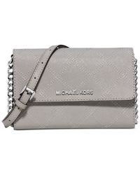 Michael Kors | Gray Michael Jet Set Travel Large Cross Stitch Phone Crossbody | Lyst