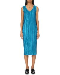 Pleats Please Issey Miyake | Blue Sleeveless Pleated Dress | Lyst
