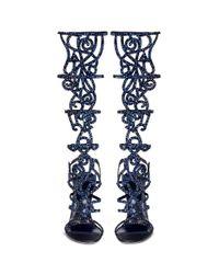 Rene Caovilla | Blue 'marlene' Crystal Spiral Venetian Sandals | Lyst