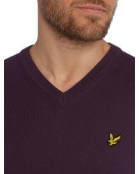 Lyle & Scott - Purple V Neck Classic Cotton Jumper for Men - Lyst