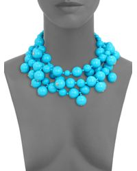 Kenneth Jay Lane | Blue Beaded Cluster Multi-Row Necklace | Lyst