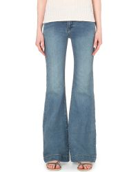 Free People | Blue Flared High-rise Jeans | Lyst