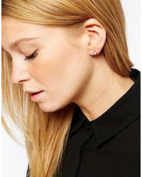 ASOS | Metallic Mismatch Mini Moon & Star Hoop Earrings With Cubic Zirconia | Lyst