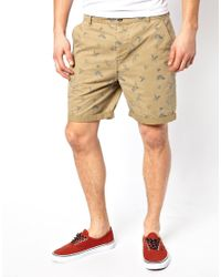 ASOS - Natural Chino Short with Outline Print for Men - Lyst