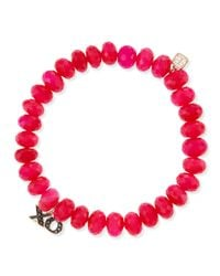 Sydney Evan | Diamond, Hot Pink Chalcedony & 14k Yellow Gold Beaded Bracelet | Lyst