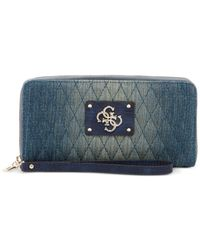 Guess - Blue Aliza Large Zip Around Wallet - Lyst