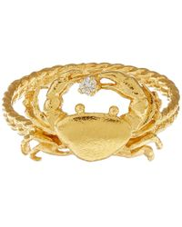 Alex Monroe | Metallic Gold-plated Crab Diamond Ring | Lyst
